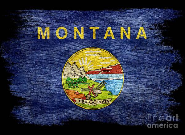 Montana State Photograph - Distressed Montana Flag On Black by Jon Neidert