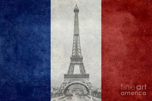 Wall Art - Photograph - Distressed National Flag Of France With Eiffel Tower Insert by Bruce Stanfield