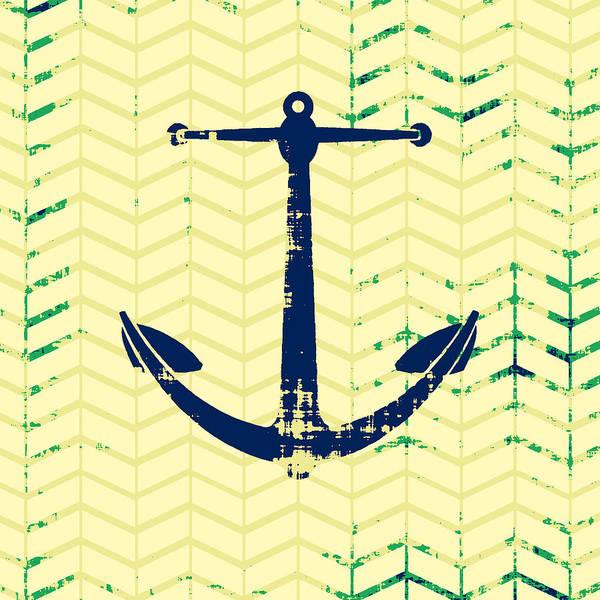 Anchor Digital Art - Distressed Navy Anchor by Brandi Fitzgerald
