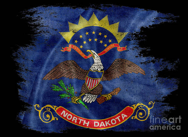 North Dakota Photograph - Distressed North Dakota Flag On Black 2 by Jon Neidert
