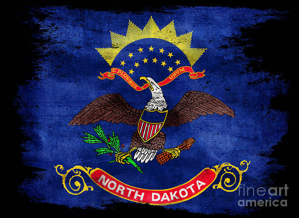 North Dakota Photograph - Distressed North Dakota Flag On Black by Jon Neidert