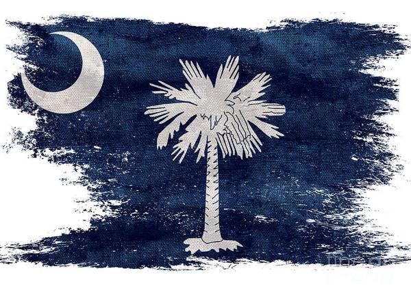 Old Glory Photograph - Distressed South Carolina  Flag by Jon Neidert