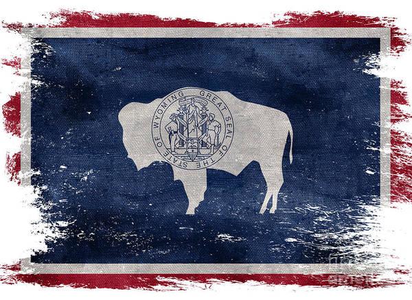 Wall Art - Photograph - Distressed Wyoming Flag by Jon Neidert