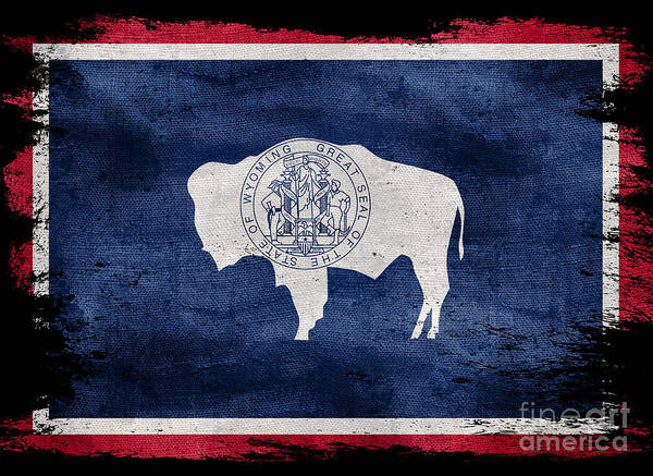 Wall Art - Photograph - Distressed Wyoming Flag On Black by Jon Neidert