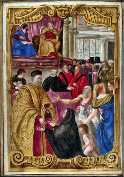 Digital Art - Distribution Of Alms From Bl Arundel 156 Interpreted by Pablo Avanzini