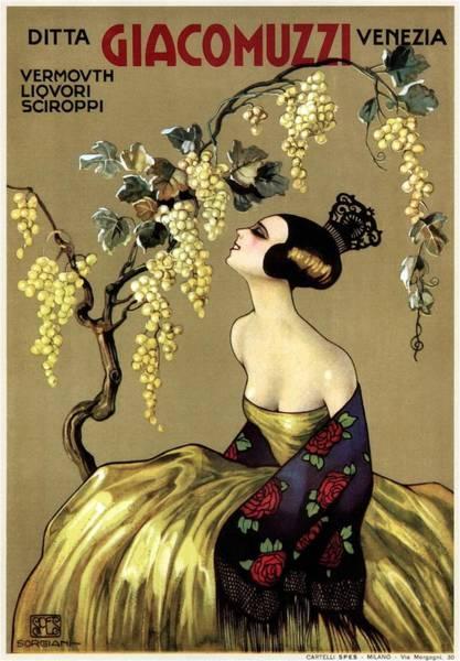 Art Nouveau Mixed Media - Ditta Giacomuzzi Venezia - Wine - Vintage Advertising Poster by Studio Grafiikka