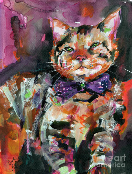 Painting - Diva Cat With Bow And Attitude by Ginette Callaway