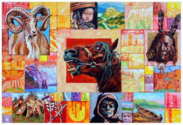 Wall Art - Painting - Divided Land - Crying Horse by John Lautermilch