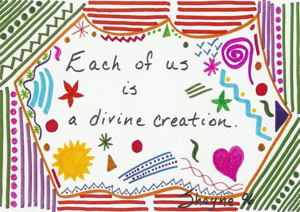 Drawing - Divine Creation Doodle Quote by Susan Schanerman