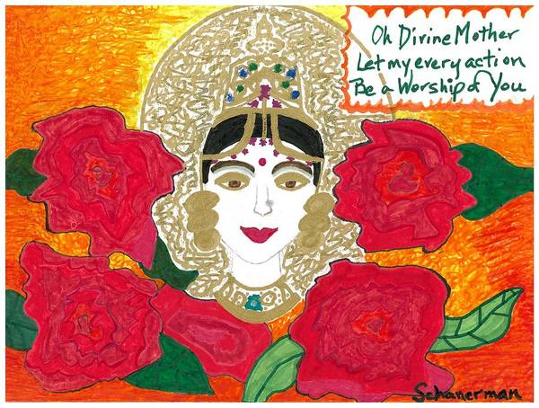 Drawing - Divine Mother by Susan Schanerman
