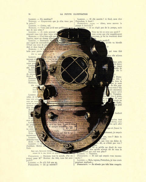Wall Art - Digital Art - Diving Helmet by Madame Memento
