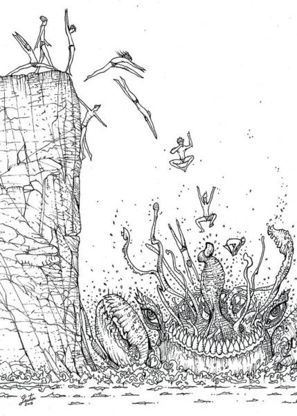 Bather Drawing - Diving Into The Mouth Of The Sea Beast by Fabrizio Cassetta