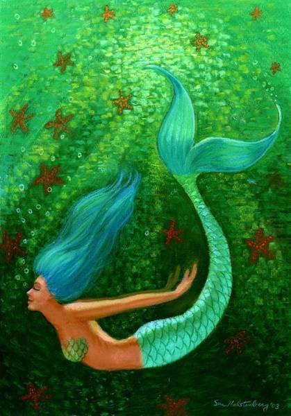 Wall Art - Painting - Diving Mermaid Fantasy Art by Sue Halstenberg