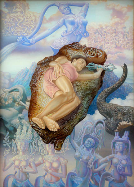 Chinese Buddha Painting - Divinity Is Feminine by Simon Drost