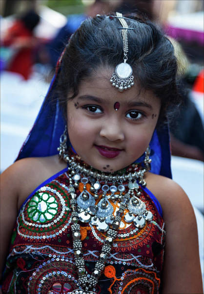 Pride Festival Photograph - Diwali Festival Nyc 2017 Young Girl In Traditional Dress by Robert Ullmann