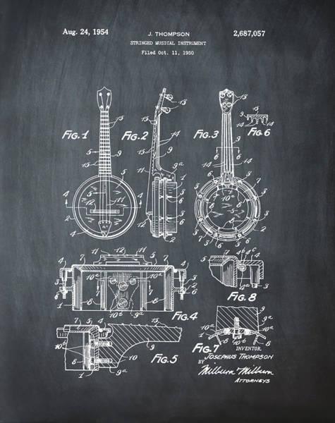 Wall Art - Digital Art - Dixie Banjolele Patent 1954 In Chalk by Bill Cannon