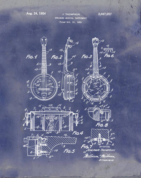 Wall Art - Digital Art - Dixie Banjolele Patent 1954 In Grunge Blue by Bill Cannon