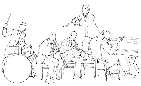 Piano Player Painting - Dixiland Jazz Band, Original Jazz Band by Drawspots Illustrations