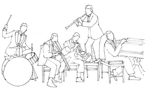 Wall Art - Painting - Dixiland Jazz Band, Original Jazz Band by Drawspots Illustrations