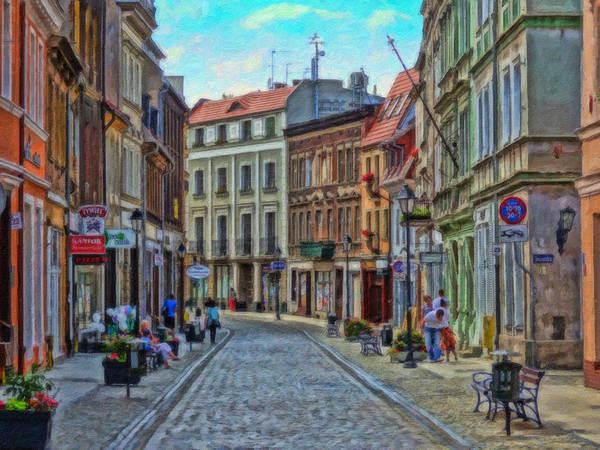 Painting - Dluga Street Bydgoszcz Poland - Pol903730 by Dean Wittle