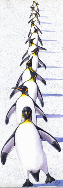 King Penguin Wall Art - Painting - Do The Shuffle by Catherine G McElroy