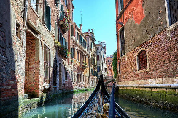 Photograph - Gondola Ride On The Narrow Water Canals Of Venice, Italy by Fine Art Photography Prints By Eduardo Accorinti