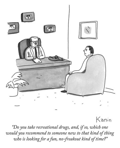 Interview Drawing - Do You Take Recreational Drugs by Zachary Kanin