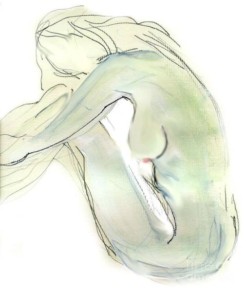 Erotic Drawing - Do You Think - Female Nude by Carolyn Weltman