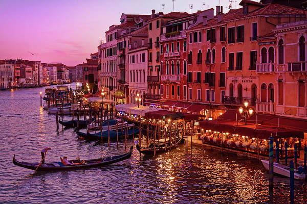 Photograph - A Cityscape With Vintage Buildings And Gondola - From The Rialto In Venice, Italy by Fine Art Photography Prints By Eduardo Accorinti