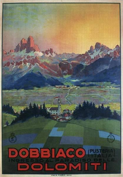 Kunst Painting - Dobbiaco Dolomiti - Italian Dolomites - Vintage Travel Poster by Studio Grafiikka