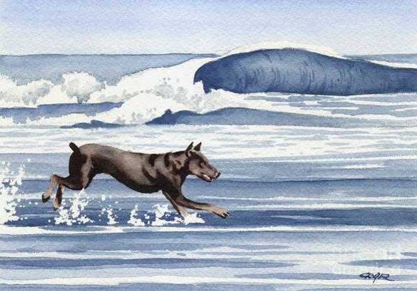 Dog Watercolor Wall Art - Painting - Doberman At The Beach  by David Rogers