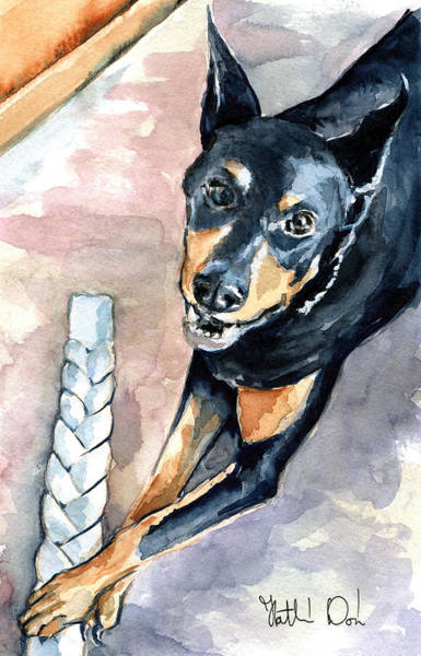 Painting - Doberman - Dog Portrait by Dora Hathazi Mendes
