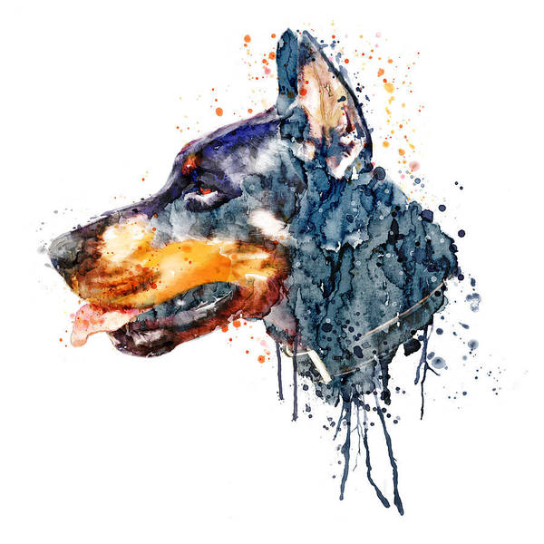 Doberman Wall Art - Painting - Doberman Head by Marian Voicu