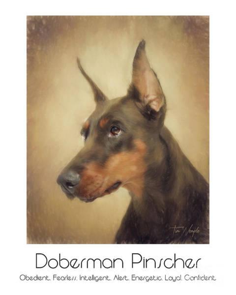 Digital Art - Doberman Pinscher Poster by Tim Wemple