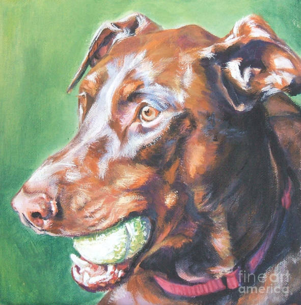 Doberman Wall Art - Painting - Doberman Red by Lee Ann Shepard