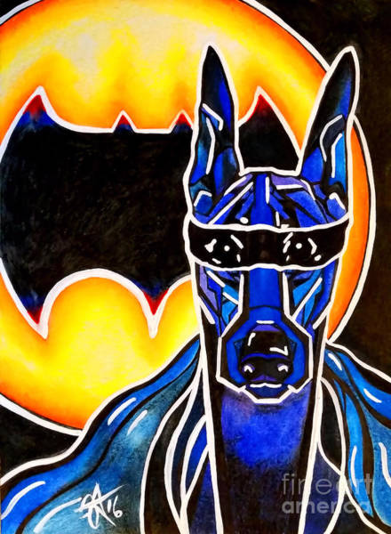 Black Great Dane Painting - Dog Superhero Bat by Jackie Carpenter