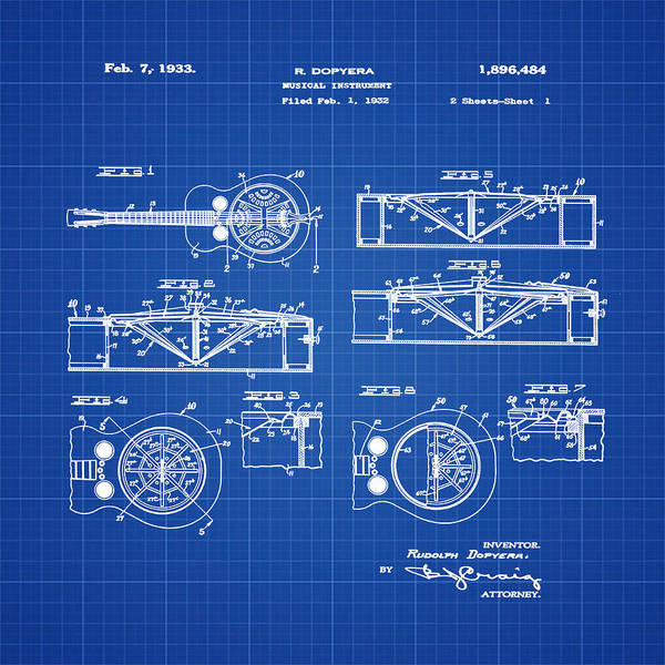 Wall Art - Photograph - Dobro Guitar Patent 1933 Blue Print by Bill Cannon