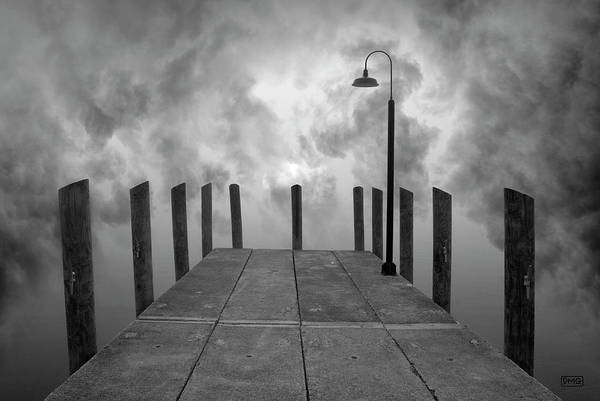 Dock And Clouds Art Print