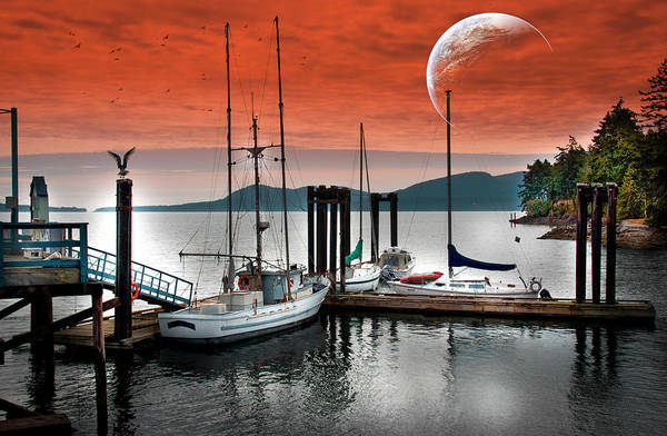 Photograph - Dock And The Moon by Barry Weiss