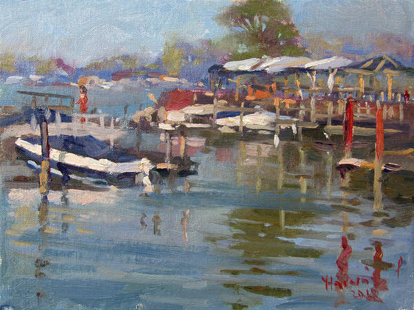 Lake House Painting - Dock In North Tonawanda by Ylli Haruni