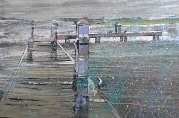 Caribbean Wall Art - Painting - Dock In The Rain by Jan Farara