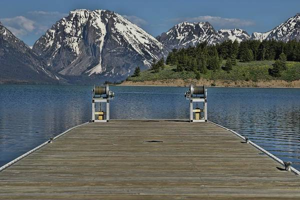 Dock Of The Bay Photograph - Dock Of Jackson Lake Wyoming by Dan Sproul