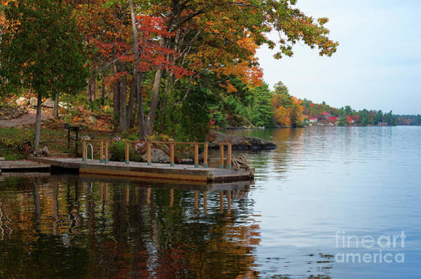 Photograph - Dock On Lake In Fall by Les Palenik