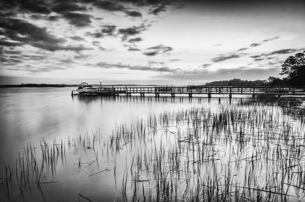 Photograph - Dock On The River - Bw by Joye Ardyn Durham