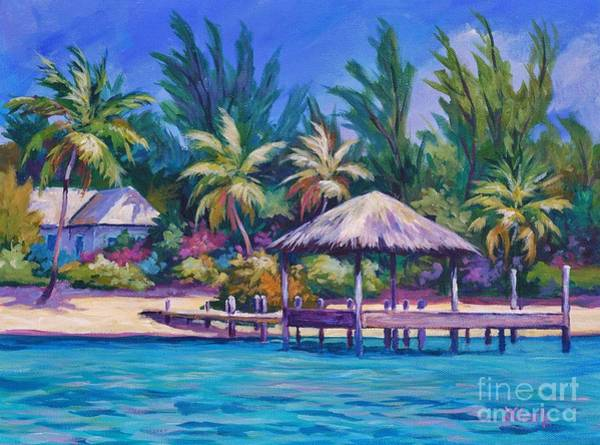 Wall Art - Painting - Dock With Thatched Cabana by John Clark
