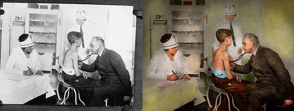 Photograph - Doctor - At The Pediatricians Office 1925 - Side By Side by Mike Savad