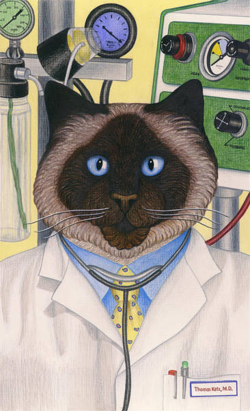 Wall Art - Painting - Doctor Cat by Carol Wilson