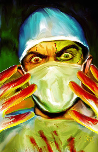 Frankenstein Painting - Doctor Frankenstein Mark Spears Monsters by Mark Spears