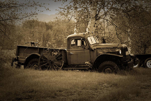 Photograph - Dodge Power Wagon Rusting In A Field In Vermont by Jeff Folger