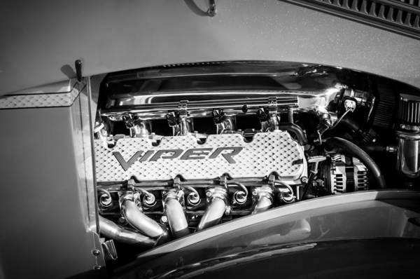 Photograph - Dodge Viper Engine Emblem -0096bw by Jill Reger
